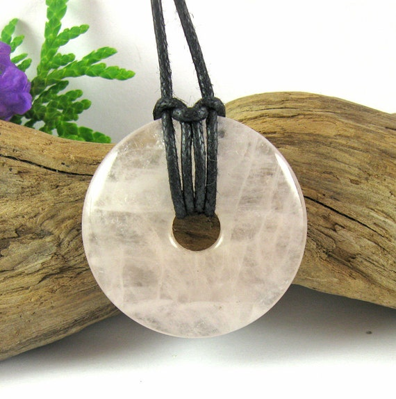 SUMMER SECOND SALE Babylove Nursing Necklace - 30mm Rose Quartz Breastfeeding Necklace