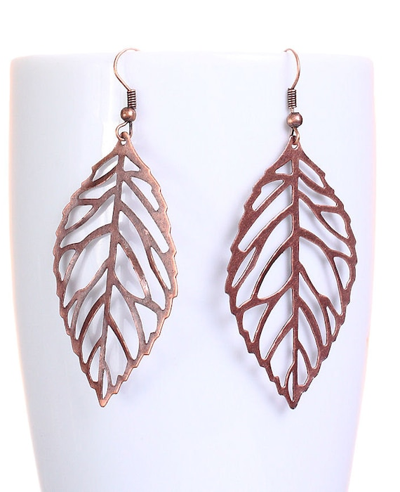 Antique copper leaf dangle earrings (612) - Flat rate shipping