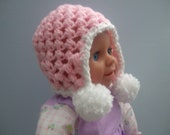 Crochet Newborn to 3 months old Pink Baby Hat With Pom Poms.  Great Gift for a Baby Shower or New Mom.  Item 4