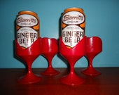 Four Space Age Mod Hot Pink Can Holders - FashionTramp