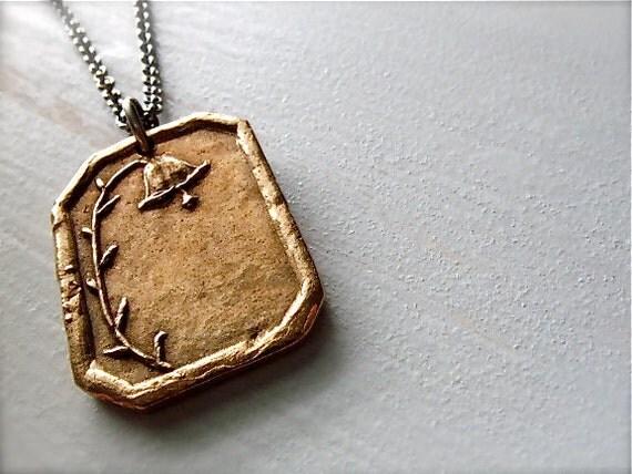 be grateful necklace : bronze bellflower, botanical jewelry . sterling silver, bronze