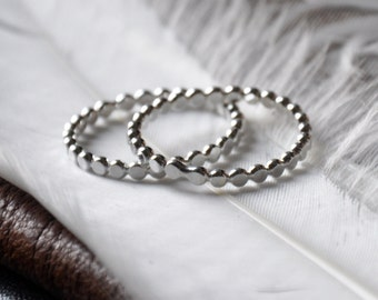 2 Silver Drop Stacker Rings- your size