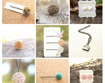 Mystery Grab Bag Assortment of 3 // Flower or Charm Necklaces // Single Hairpins // Flower Rings // Flower Earrings