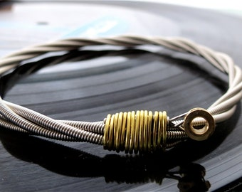 Recycled Bass Guitar String Bracelet silver colored with brass ball end attached Mens & Womens One of a Kind Handmade Gift Unisex Teens Gift