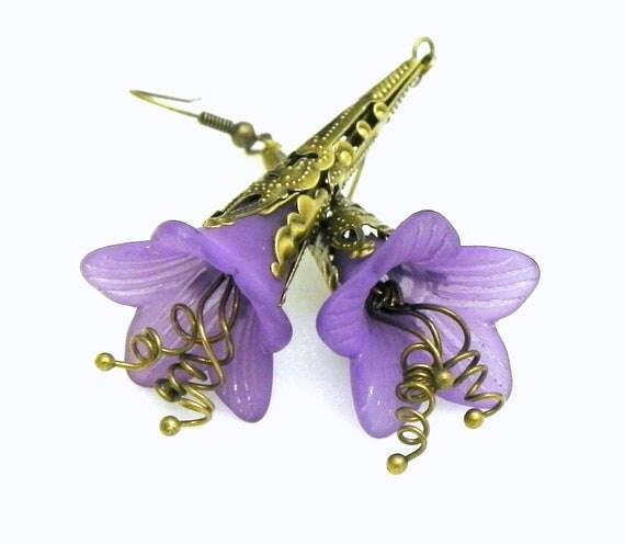 Purple Lucite Trumpet Flower Earrings -  Brass Filigree Cone