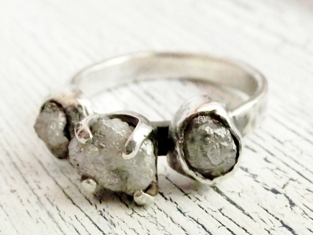Rough Uncut Diamond Ring Rustic Sterling Silver Engagement