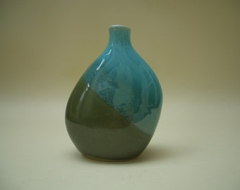 Bud Vase, Vintage Studio Pottery, Turquoise Blue & Fern Green, Beautifully Glazed Clay, Asymmetrical Shape, Christmas Gift, Free Shipping
