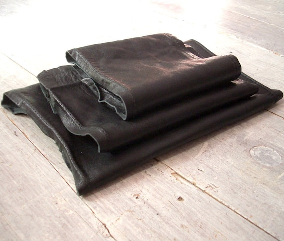 Vintage Leather, Jet Black, 3 Large Pieces, Butter Soft, Genuine Suede Hide, Remnant and Fabric Destash, Crafts & Sewing, Free Shipping