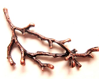 4 Tree branch connectors antique copper twig charms 60mm 26mm necklace pendant