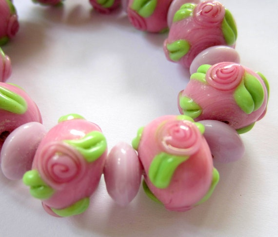 21 Pink rose lampwork glass beads lavender spacer beads jewelry making supplies Lynn