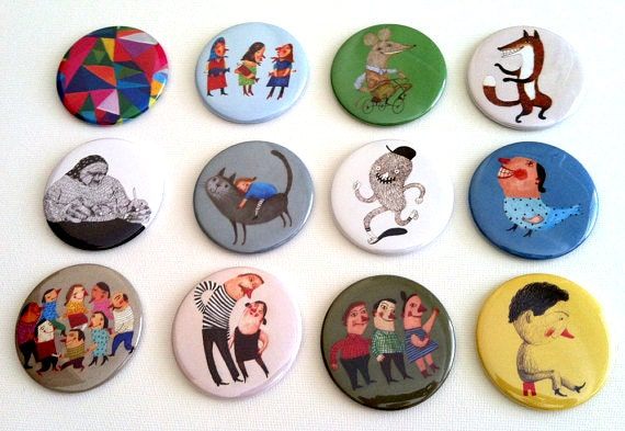 12 Illustrated Magnets / Fridge magnet  / Illustrations / Cartoons / fun images / happy magnets