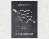 printable wedding save the date or engagement announcement school geeky chalkboard heart doodle graffiti - chalkboard crush design