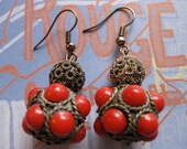 Ruby Red Fashion Earrings. Red Boho Drop Earrings.Fashion Statement Jewelry. Red dangles