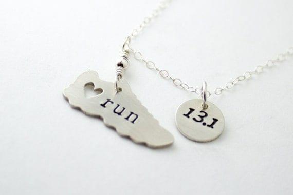 I love running necklace with 13.1 Half Marathon charm