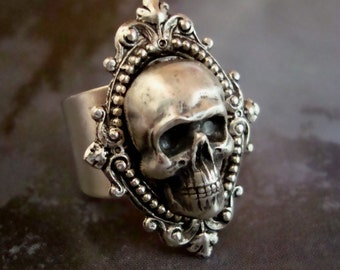 Skull Ring, Human, Gothic, Metal Bonded NOT Glued, QUALITY RING, Sterling Silver Plate, Comfortable Ring Band