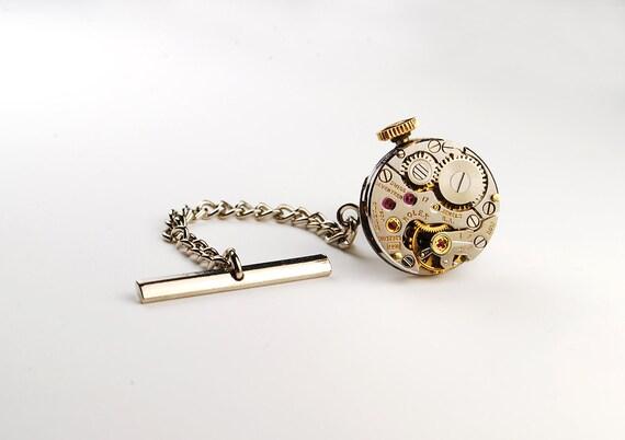 Steampunk Tie Tack Genuine ROLEX Rare Silver Watch Movement Mens Gear Tie Tac - Accessories by Steampunk Vintage Design