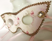 Gold & Pink Vintage Rose Cats Eye Masquerade Mask