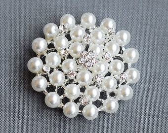 10 Rhinestone Buttons Round Pearl Crystal for Hair Flower Comb Clip Wedding Invitation Brooch Bouquet BT132