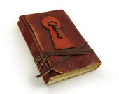 Journal with Key - Leather Journal with Old Paper and Vintage Key