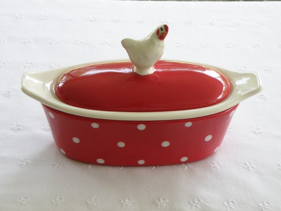 Vintage Style Chicken/Hen Butter Boat (3 Piece) - Red With White Polka Dots - USA Made Pottery