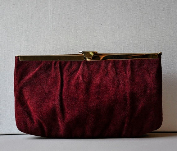 60s Maroon Suede Leather Clutch Gloria Frame