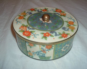 Vintage collectible tin container made in England