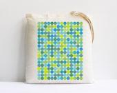 Minimalist modern teachers gift geometric decor teal blue turquoise polka dots large cotton canvas tote bag eco friendly
