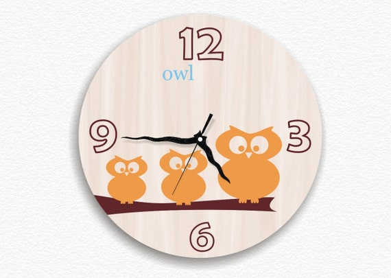 Large big round wall clock back to school summer kid's nature children boy girl room nursery decor woodland rustic owl decor educational CIJ