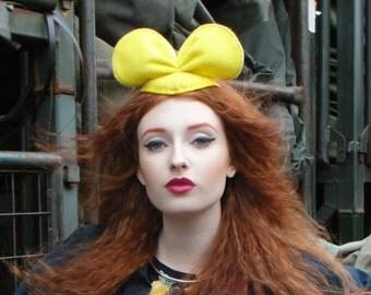 Kawaii YELLOW animal ears minnie micky mouse inspired hat fascinator