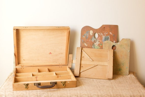 Vintage Wooden Pochade Box with Two Palettes and Small Easel