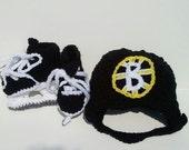 Boston Bruins Helmet and Ice Skates, NHL Bruins, Hockey Skates