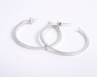Hammered Hoops,  Sterling Silver Earrings,  Modern Jewelry Birthday Graduation Gifts Under 50