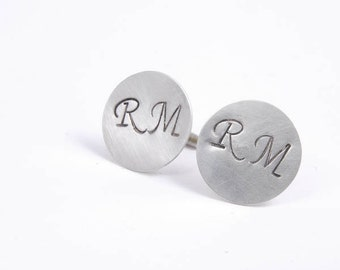 Sterling Silver Cuff Links Personalized cufflinks, Monogram Initials Wedding Gifts for Him Father Dad Best Man