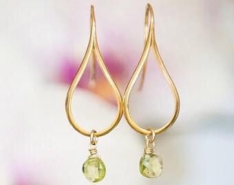 Gold earrings with Peridot, Teardrop earrings, Dangly earrings, Peridot earrings, Modern jewelry, Greek jewelry, Minimalist earrings