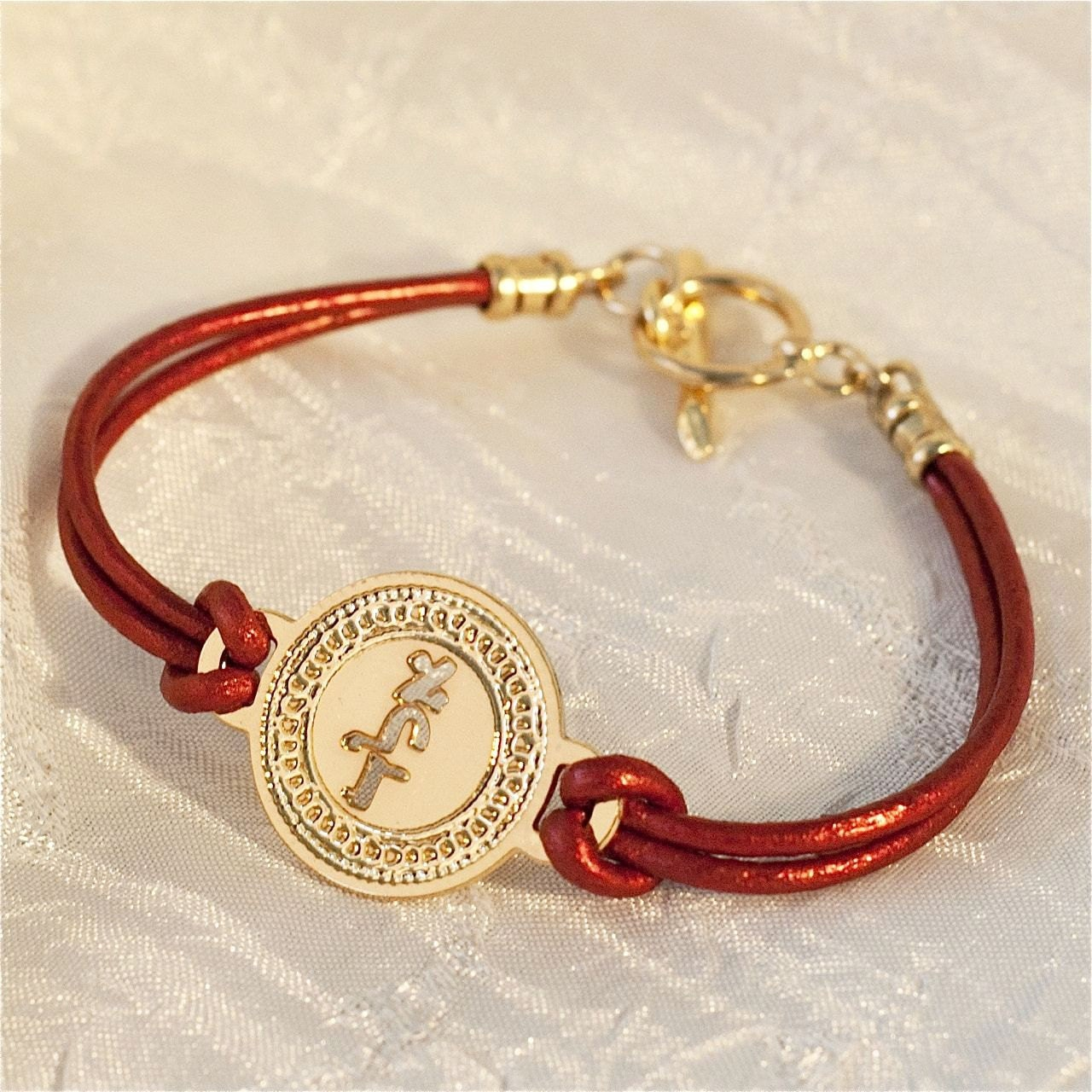 kabbalah bracelet gold coin on leather gold by
