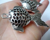 Big fish pendant - antique silver tone koi carp  charm  50 mm x 40 mm