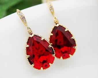 Bridal Earrings Bridesmaid Earrings cubic zirconia ear wires and Siam Red Swarovski Crystal Tear drops