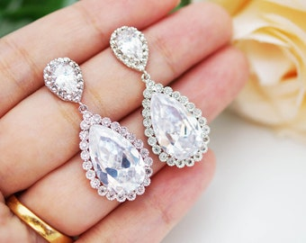 Wedding Jewelry Bridal Earrings Bridesmaid Earrings Cubic zirconia earrings with Large Cubic Zirconia Tear drops