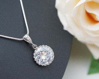 Wedding Jewelry Bridesmaid Necklace Bridesmaid Jewelry Clear white round cubic zirconia Crystal drops Bridesmaid gifts