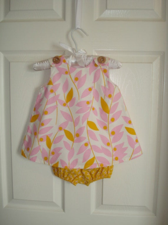 Infant baby sundress with  diaper cover bloomers golden yellow pink white