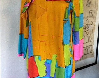Vintage 1960s I Magnin Silk Abstract Dress