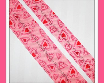 New 3 Yards 7/8 Valentines Girly Pink Red Love Floating HEARTS on PINK GROSGRAIN Ribbon Hair Bows Sewing scrap dog collars craft