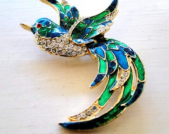 Brooch Pave Rhinestones Enamel In Flight 3-D Wings