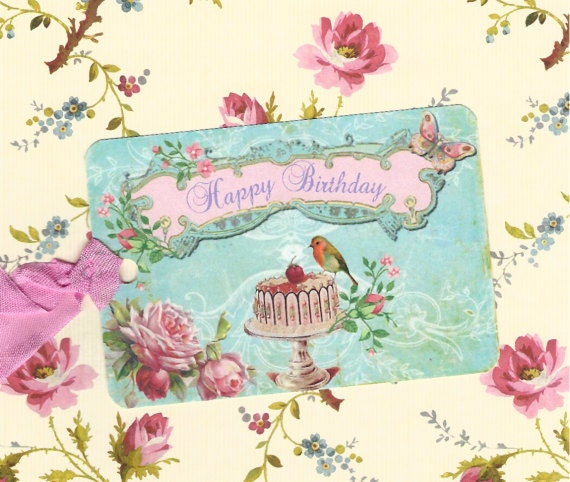 Items Similar To Gift Tags Happy Birthday Shabby Chic Style On Etsy