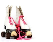 Vintage Roller Skates with Neon Pink Laces