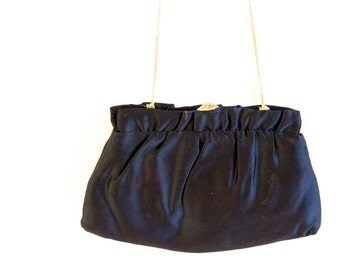Vintage 1950s 1960s Black Satin evening purse with rhinestone clasp by Ande