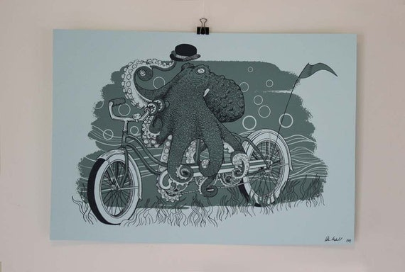 Octopus Bicycle (Octobike) Screen Print