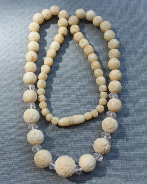 Art Deco Carved Bone Necklace