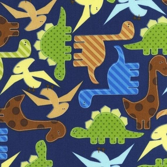 1 yard of navy Robert Kaufman dinosaur fabric