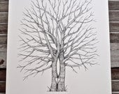 Split Trunk Large Fingerprint Wedding Tree Guest book, Hand Drawn in ink, includes 2 ink pads and pen